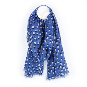 Cobalt Shadow Dot Scarf - Royal Blue scarf with white & black dot and shadow print