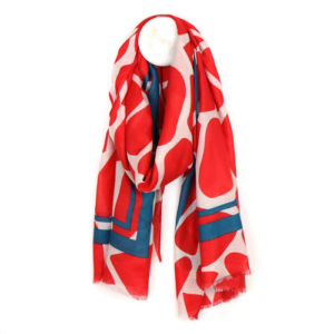 Vibrant Red Graphic Print Scarf - Peace of Mind - Accessories - Spirit & Grace Style