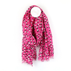 Bright Pink Shadow Dot Scarf - Bright Pink scarf with white & black dot and shadow print