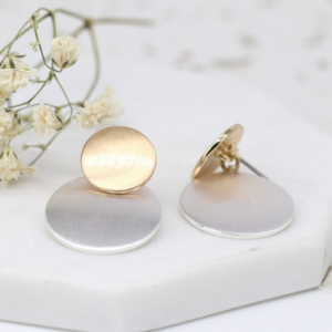 Brushed gold & silver plated double disc stud earrings - Mixed metal earrings - Jewellery - Spirit & Grace Style