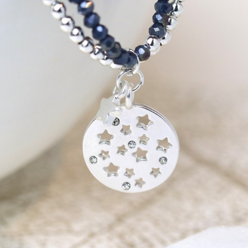 Close Up View of Silver & Blue Beaded Double Strand-Star Bracelet