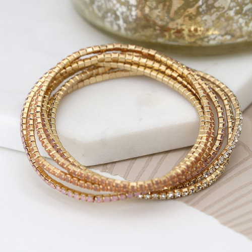 Elasticated stacking bracelet with clear & pink crystals