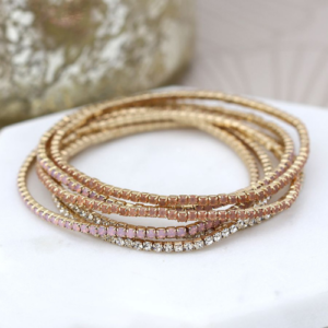 Gold plated stacking bracelet with blush pink, & clear faceted crystals