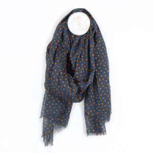 Navy Blue & Burnt Orange Stars Design Cotton Scarf - Spirit & Grace Style Accessories