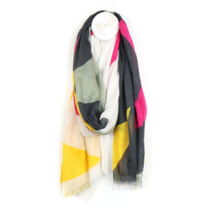 Pink, Grey & Yellow Giant Star Print Scarf - Viscose Scarf - Accessories - Spirit & Grace Style