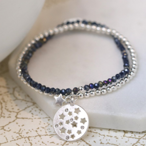 Midnight blue & silver double strand star charm bracelet - elasticated - Spirit & Grace Style Jewellery Collection