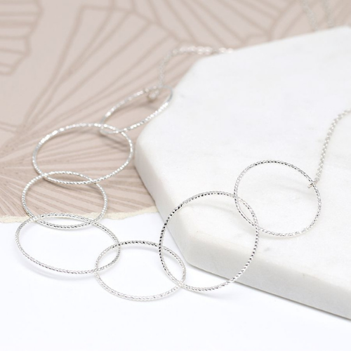 Silver plated multi-textured hoop necklace