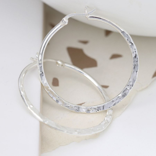 sterling-silver-hammered-hoop-earrings-accessorise-your-outfit-spirit-grace-style