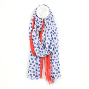 White & Blue Heart Print Scarf with Red Border - 100% Cotton