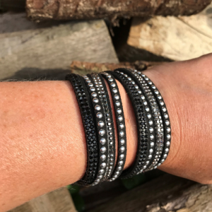 A stunning black leather crystal wrap bracelets with silver studs & rhinestones