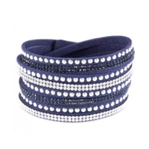 Navy Crystal Wrap Bracelet