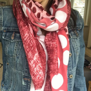 Burgundy Mix Polka Dot Scarf. Pink & Burgundy Scarf