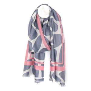 Grey & Pastel Pink Graphic Print Scarf - Peace of Mind - Accessories - Spirit & Grace Style