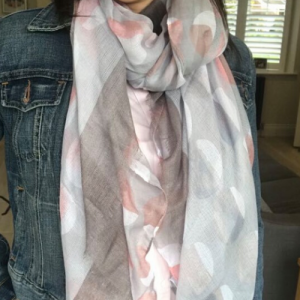 Everyday Ombre Scarf. Grey & Pink Spot Scarf