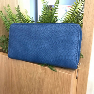 Blue Faux Leather Snakeskin Print Purse
