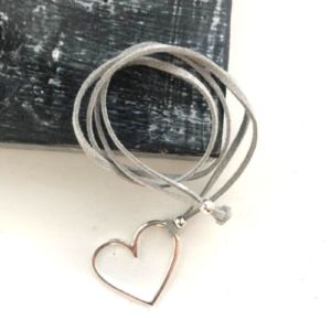 Open Heart Suede Adjustable Necklace