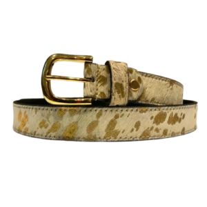 Gold Splash Print Belt - 100% Real Leather Cow Fur - Accessories - Spirit & Grace Style