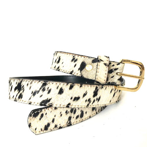 Cow Print Leather Belt with Gold Buckle