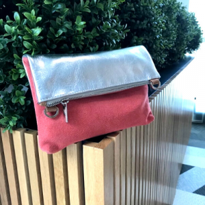Silver & Red Genuine Leather Suede Crossbody Clutch Bag. Hydestyle.
