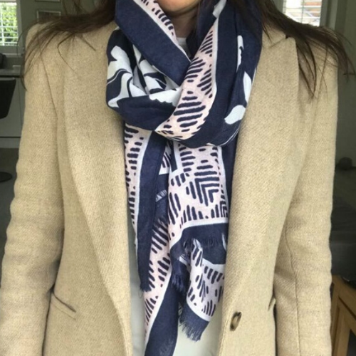 Everyday navy floral print scarf. Navy Scarf. Floral pattern scarf