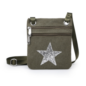 Khaki Mini Sparkle Messenger Bag - Accessories For Girls - Spirit & Grace Style