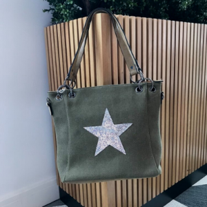 Khaki Shoulder Tote Bag with Silver Encrusted Star