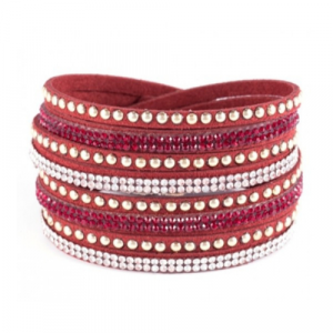 Spirit & Grace - Burgundy Faux Leather Wrap Bracelet