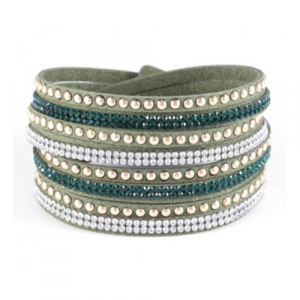 Spirit & Grace - Oliver Green Faux Leather Wrap Bracelet
