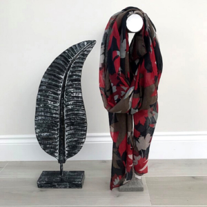 Autumnal Leaf Print Scarf in vibrant Autumnal colours & tones