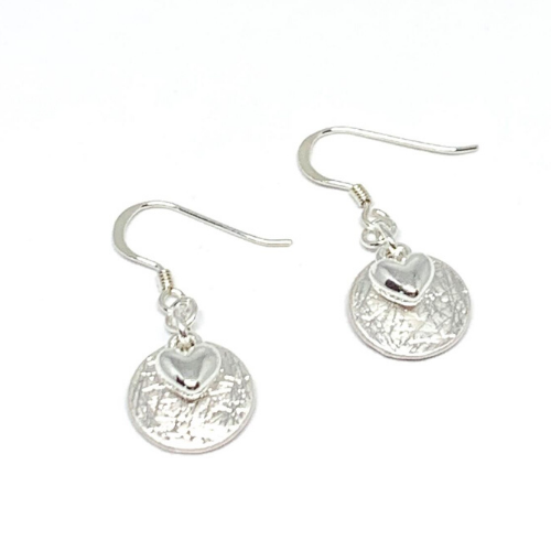 Sterling Silver Drop Earrings with hammered silver plated disc & solid silver heart on a hook fitting