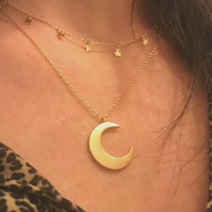 Short Gold Constellation Inspired Trace Chain Double Layered Necklace with Dainty Star Charms & Crescent Moon Pendant