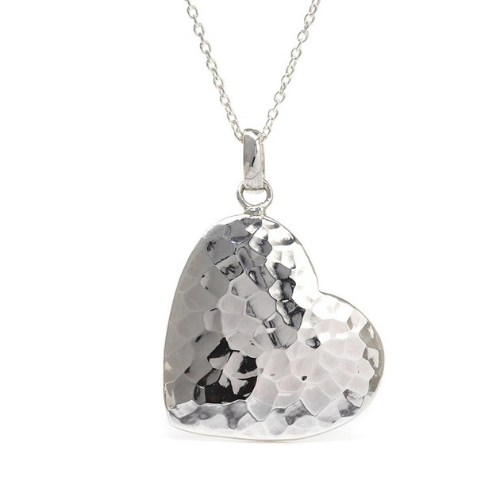 .925-Silver-Hammered-Heart-Pendant-Necklace-Spirit-Grace-Style-Fashion-Accessories-Boutique