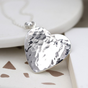 Silver-Hammered-Heart-18inch-Short-Necklace-Spirit-Grace-Style-Fashion-Accessories-Boutique-Windsor