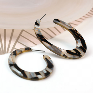 Black & Silver Mix Resin Earrings. Statement Oval Hoop Earrings. Multi-hoop earrings. Resin Stud Earrings