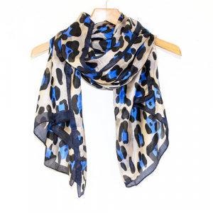 Large Blue & Black Silk Scarf hanging long from a hanger Leopard Print Design Animal Print Scarf