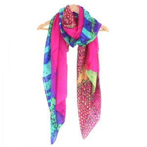 A fabulous brightly coloured pure silk scarf with stunning design