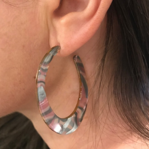 Pink & Grey Mix Resin Earrings. Statement Oval Hoop Earrings. Multi-hoop earrings. Resin Stud Earrings
