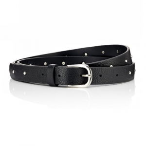 Slim black leather belt. Studded Belt