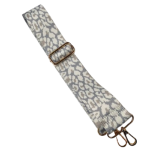 Grey, Mint & Cream Snow Leopard Bag Strap - Detachable Strap for Crossbody Bags - Bag Accessories - Spirit & Grace Style