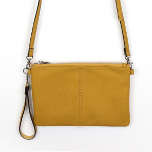 A gorgeous yellow ochre this bag looks great as a standard clutch with a useful wrist strap or simply attach the longer strap to make it a handy shoulder bag.