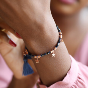Navy & Rose Gold Star Friendship Bracelet - Lisa Angel Collection - Bracelet - Spirit & Grace Style