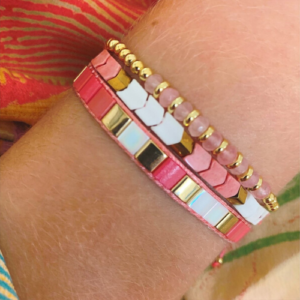 Pepo Coral, White & Gold Agate Friendship Bracelet - Boho Betty - Bracelets - Spirit & Grace Style