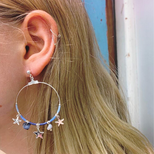 Blue & Silver Stars & Starfish Charm Earrings with Beads, Gem Stones & Star Charms - Boho Betty - Jewellery - Spirit & Grace Style