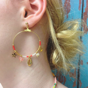 Coral & Gold Shell Charm Earrings with Beads, Gem Stones & Star Charms - Boho Betty - Jewellery - Spirit & Grace Style