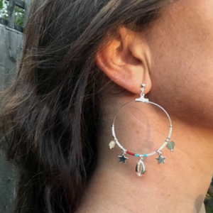 Multi-Colour & Silver Star Charm Hoop Earrings with Beads, Gem Stones & Star Charms - Boho Betty - Jewellery - Spirit & Grace Style