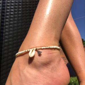 White Beaded Cowrie Shell Charm Anklet - Anklet - Lisa Angel - Jewellery - Spirit & Grace Style