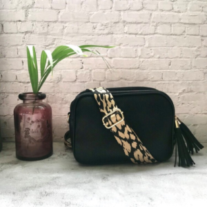 Black Crossbody Bag. Black & Taupe Cheetah Print Detachable Strap