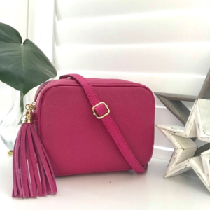 Luxury Bright Pink Genuine Leather Crossbody Bag. Box Clutch Bag. Detachable Strap