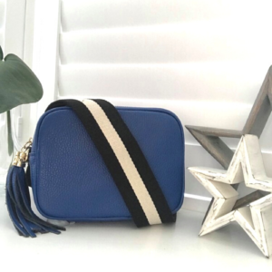 Luxury Cobalt Blue Crossbody Bag. Box Clutch Bag. Black & White Stripe Detachable Strap