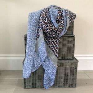 Dark Blue Drop Print Scarf - Spirit & Grace Style
